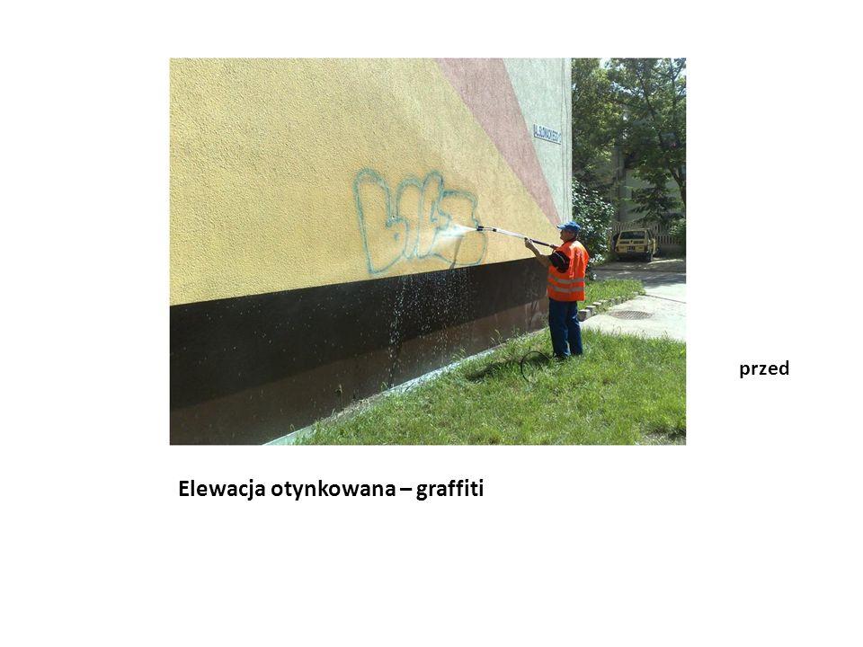 Elewacja otynkowana – graffiti po