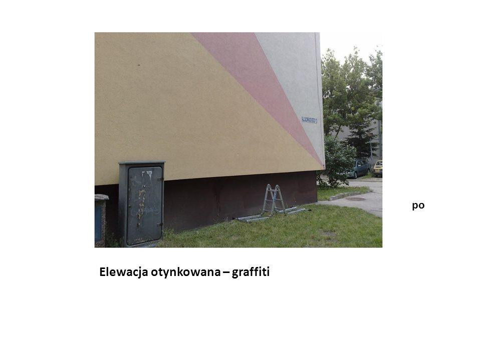 Elewacja klinkierowa - graffiti przed