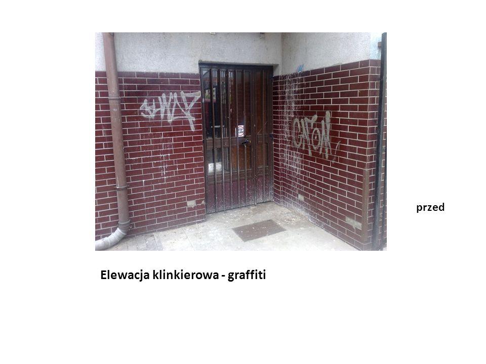 Elewacja klinkierowa - graffiti po
