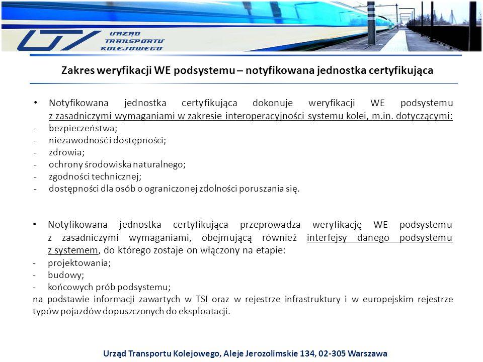 Urząd Transportu Kolejowego, Aleje Jerozolimskie 134, 02-305 Warszawa Zakres weryfikacji WE podsystemu – notyfikowana jednostka certyfikująca Notyfikowana jednostka certyfikująca dokonuje weryfikacji WE podsystemu z zasadniczymi wymaganiami w zakresie interoperacyjności systemu kolei, m.in.