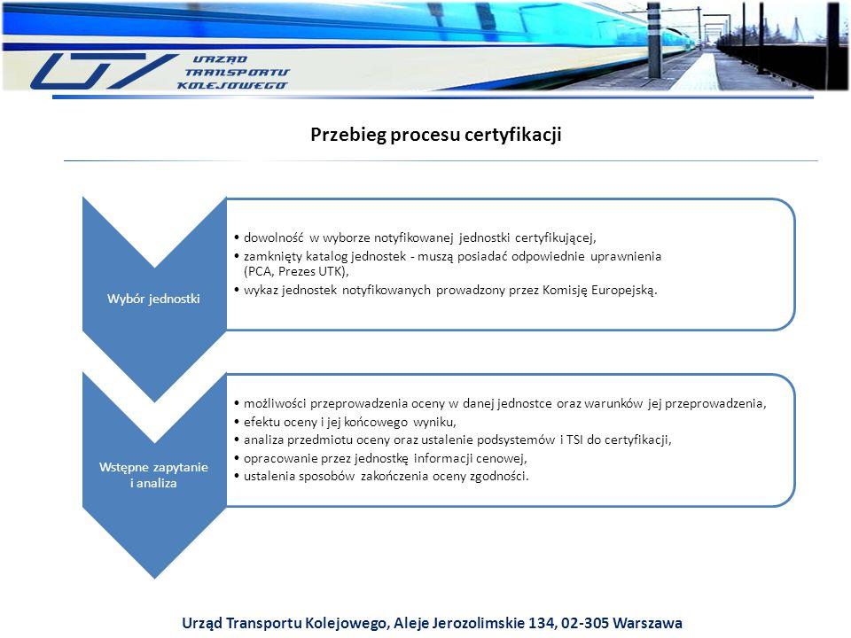 Urząd Transportu Kolejowego, Aleje Jerozolimskie 134, 02-305 Warszawa Przebieg procesu certyfikacji Wybór jednostki dowolność w wyborze notyfikowanej jednostki certyfikującej, zamknięty katalog jednostek - muszą posiadać odpowiednie uprawnienia (PCA, Prezes UTK), wykaz jednostek notyfikowanych prowadzony przez Komisję Europejską.