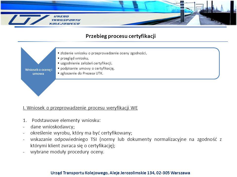 Urząd Transportu Kolejowego, Aleje Jerozolimskie 134, 02-305 Warszawa Przebieg procesu certyfikacji Wniosek o ocenę i umowa złożenie wniosku o przeprowadzenie oceny zgodności, przegląd wniosku, uzgodnienie założeń certyfikacji, podpisanie umowy o certyfikację, zgłoszenie do Prezesa UTK.