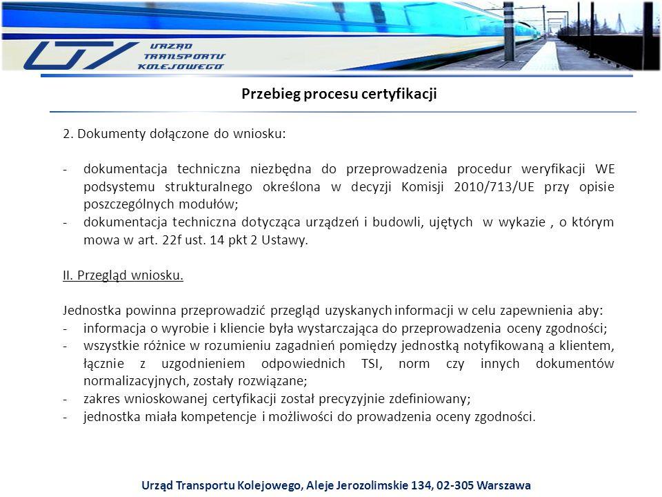 Urząd Transportu Kolejowego, Aleje Jerozolimskie 134, 02-305 Warszawa Przebieg procesu certyfikacji 2.
