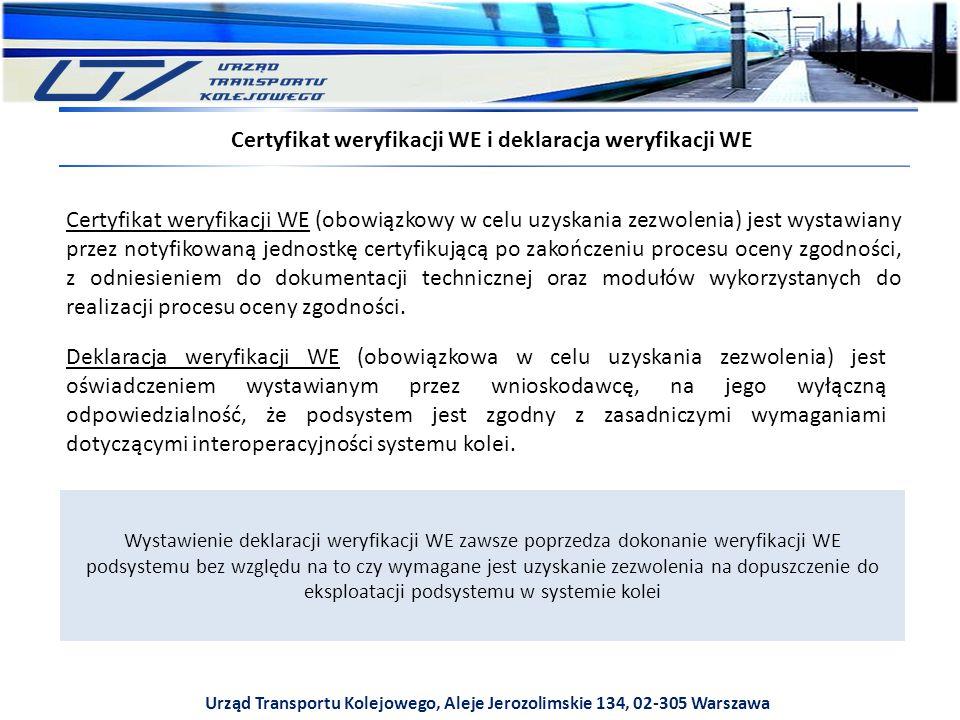 Urząd Transportu Kolejowego, Aleje Jerozolimskie 134, 02-305 Warszawa Certyfikat weryfikacji WE i deklaracja weryfikacji WE Certyfikat weryfikacji WE (obowiązkowy w celu uzyskania zezwolenia) jest wystawiany przez notyfikowaną jednostkę certyfikującą po zakończeniu procesu oceny zgodności, z odniesieniem do dokumentacji technicznej oraz modułów wykorzystanych do realizacji procesu oceny zgodności.