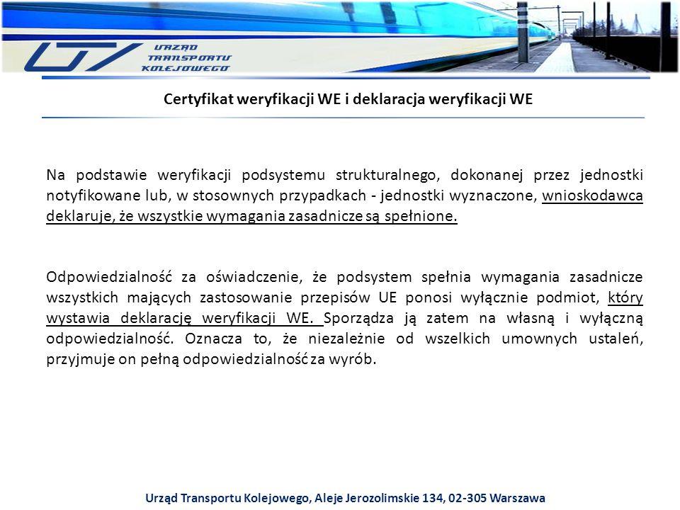Urząd Transportu Kolejowego, Aleje Jerozolimskie 134, 02-305 Warszawa Certyfikat weryfikacji WE i deklaracja weryfikacji WE Na podstawie weryfikacji podsystemu strukturalnego, dokonanej przez jednostki notyfikowane lub, w stosownych przypadkach - jednostki wyznaczone, wnioskodawca deklaruje, że wszystkie wymagania zasadnicze są spełnione.