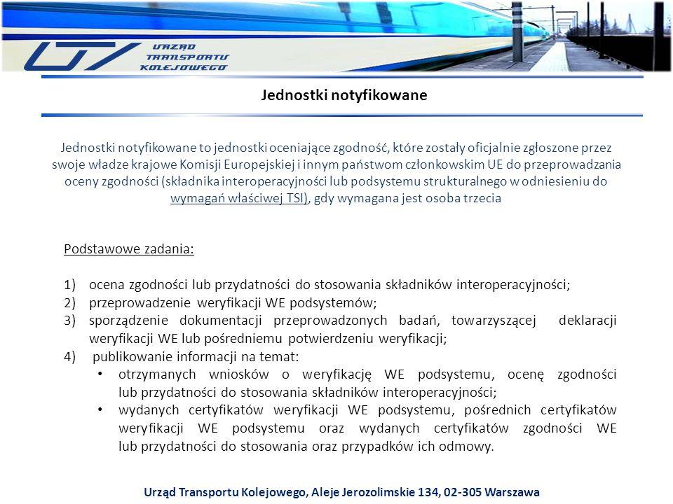 Urząd Transportu Kolejowego, Aleje Jerozolimskie 134, 02-305 Warszawa Jednostki notyfikowane Jednostki notyfikowane to jednostki oceniające zgodność, które zostały oficjalnie zgłoszone przez swoje władze krajowe Komisji Europejskiej i innym państwom członkowskim UE do przeprowadzania oceny zgodności (składnika interoperacyjności lub podsystemu strukturalnego w odniesieniu do wymagań właściwej TSI), gdy wymagana jest osoba trzecia Podstawowe zadania: 1)ocena zgodności lub przydatności do stosowania składników interoperacyjności; 2)przeprowadzenie weryfikacji WE podsystemów; 3)sporządzenie dokumentacji przeprowadzonych badań, towarzyszącej deklaracji weryfikacji WE lub pośredniemu potwierdzeniu weryfikacji; 4) publikowanie informacji na temat: otrzymanych wniosków o weryfikację WE podsystemu, ocenę zgodności lub przydatności do stosowania składników interoperacyjności; wydanych certyfikatów weryfikacji WE podsystemu, pośrednich certyfikatów weryfikacji WE podsystemu oraz wydanych certyfikatów zgodności WE lub przydatności do stosowania oraz przypadków ich odmowy.