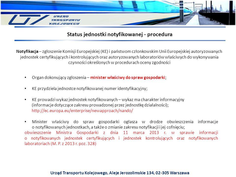 Urząd Transportu Kolejowego, Aleje Jerozolimskie 134, 02-305 Warszawa Notyfikacja – zgłoszenie Komisji Europejskiej (KE) i państwom członkowskim Unii Europejskiej autoryzowanych jednostek certyfikujących i kontrolujących oraz autoryzowanych laboratoriów właściwych do wykonywania czynności określonych w procedurach oceny zgodności Status jednostki notyfikowanej - procedura Organ dokonujący zgłoszenia – minister właściwy do spraw gospodarki; KE przydziela jednostce notyfikowanej numer identyfikacyjny; KE prowadzi wykaz jednostek notyfikowanych – wykaz ma charakter informacyjny (informacje dotyczące zakresu prowadzonej przez jednostkę działalności); http://ec.europa.eu/enterprise/newapproach/nando/ Minister właściwy do spraw gospodarki ogłasza w drodze obwieszczenia informacje o notyfikowanych jednostkach, a także o zmianie zakresu notyfikacji i jej cofnięciu; obwieszczenie Ministra Gospodarki z dnia 11 marca 2013 r.