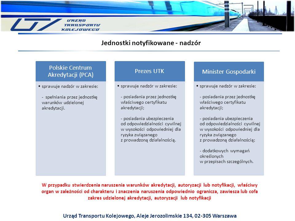 Urząd Transportu Kolejowego, Aleje Jerozolimskie 134, 02-305 Warszawa Jednostki notyfikowane - nadzór Prezes UTK sprawuje nadzór w zakresie: - posiadania przez jednostkę właściwego certyfikatu akredytacji; - posiadania ubezpieczenia od odpowiedzialności cywilnej w wysokości odpowiedniej dla ryzyka związanego z prowadzoną działalnością.