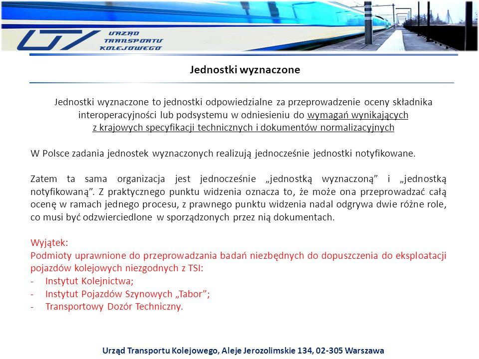 Urząd Transportu Kolejowego, Aleje Jerozolimskie 134, 02-305 Warszawa Jednostki wyznaczone to jednostki odpowiedzialne za przeprowadzenie oceny składnika interoperacyjności lub podsystemu w odniesieniu do wymagań wynikających z krajowych specyfikacji technicznych i dokumentów normalizacyjnych Jednostki wyznaczone W Polsce zadania jednostek wyznaczonych realizują jednocześnie jednostki notyfikowane.