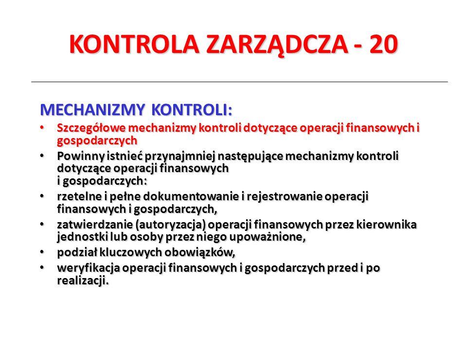 KONTROLA ZARZĄDCZA - 20 MECHANIZMY KONTROLI: Szczegółowe mechanizmy kontroli dotyczące operacji finansowych i gospodarczych Szczegółowe mechanizmy kon