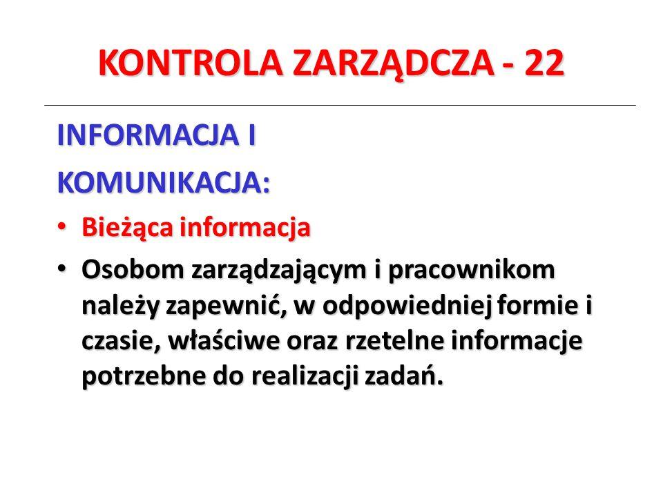 KONTROLA ZARZĄDCZA - 22 INFORMACJA I KOMUNIKACJA: Bieżąca informacja Bieżąca informacja Osobom zarządzającym i pracownikom należy zapewnić, w odpowied