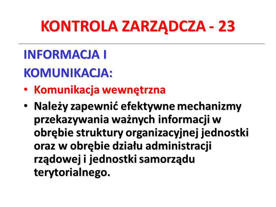 KONTROLA ZARZĄDCZA - 23 INFORMACJA I KOMUNIKACJA: Komunikacja wewnętrzna Komunikacja wewnętrzna Należy zapewnić efektywne mechanizmy przekazywania waż