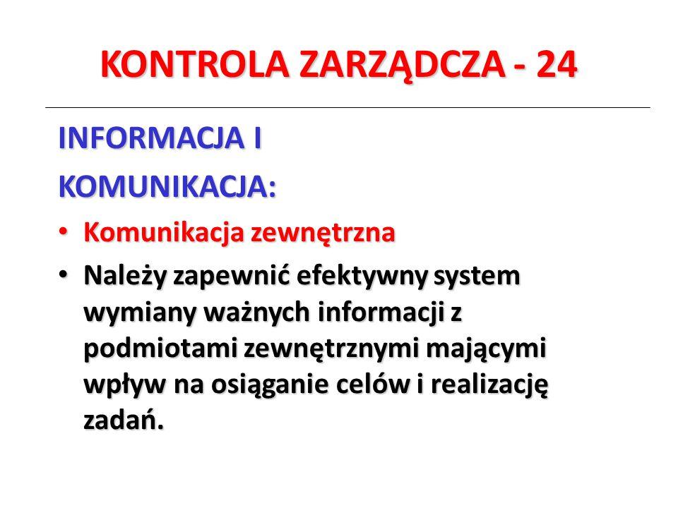 KONTROLA ZARZĄDCZA - 24 INFORMACJA I KOMUNIKACJA: Komunikacja zewnętrzna Komunikacja zewnętrzna Należy zapewnić efektywny system wymiany ważnych infor