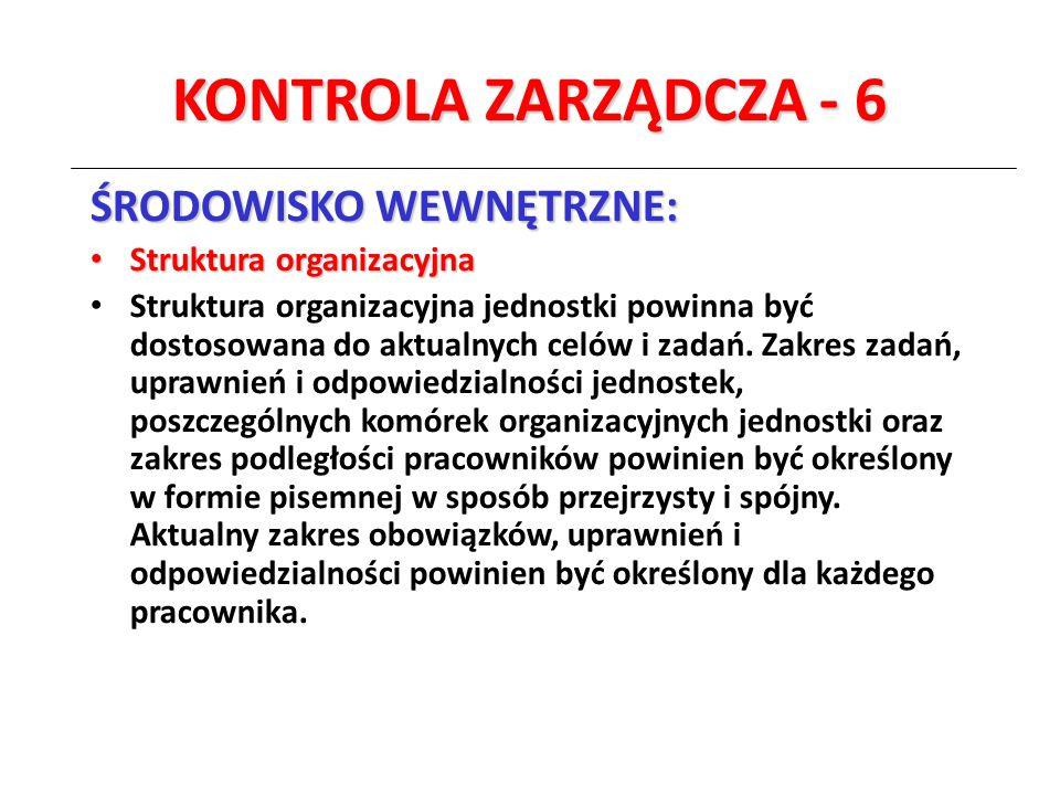 KONTROLA ZARZĄDCZA - 6 ŚRODOWISKO WEWNĘTRZNE: Struktura organizacyjna Struktura organizacyjna Struktura organizacyjna jednostki powinna być dostosowan