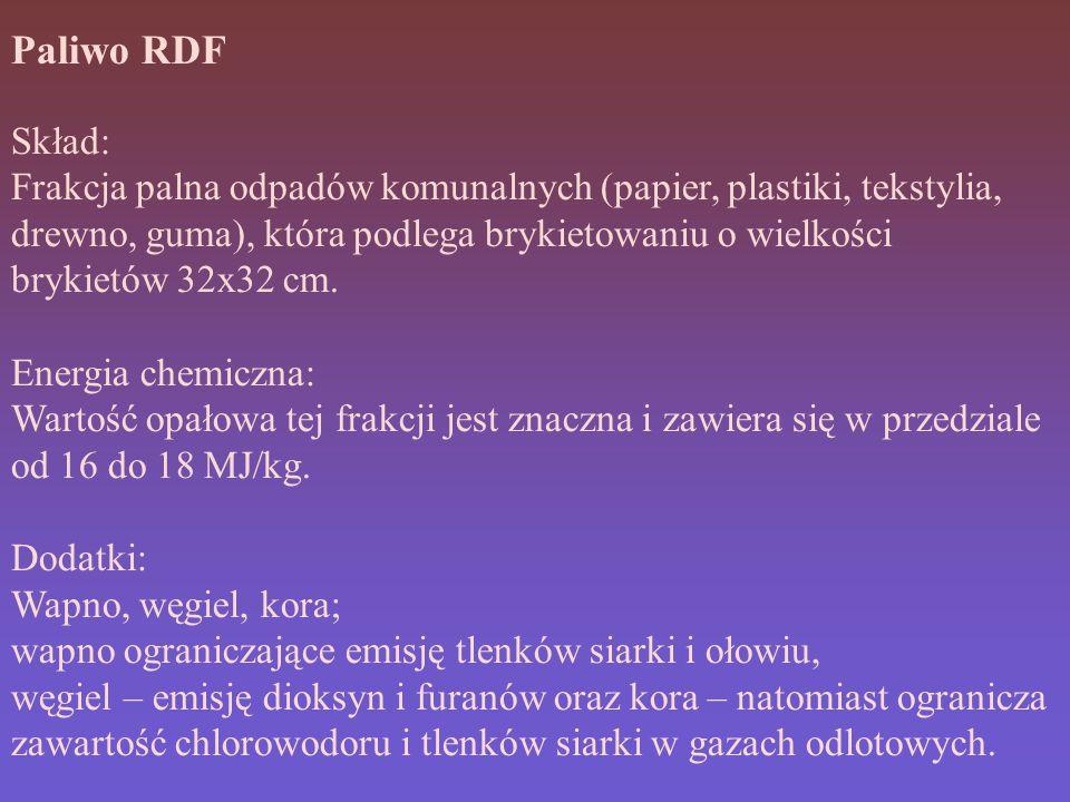 Paliwo RDF Skład: Frakcja palna odpadów komunalnych (papier, plastiki, tekstylia, drewno, guma), która podlega brykietowaniu o wielkości brykietów 32x32 cm.