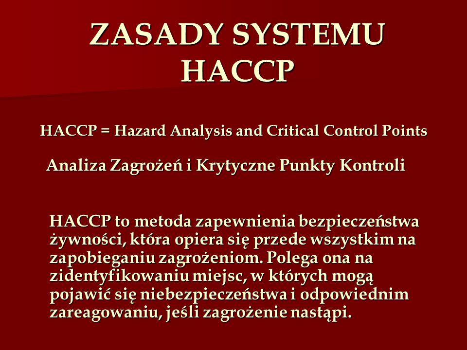 HACCP = Hazard Analysis and Critical Control Points Analiza Zagrożeń i Krytyczne Punkty Kontroli HACCP to metoda zapewnienia bezpieczeństwa żywności,