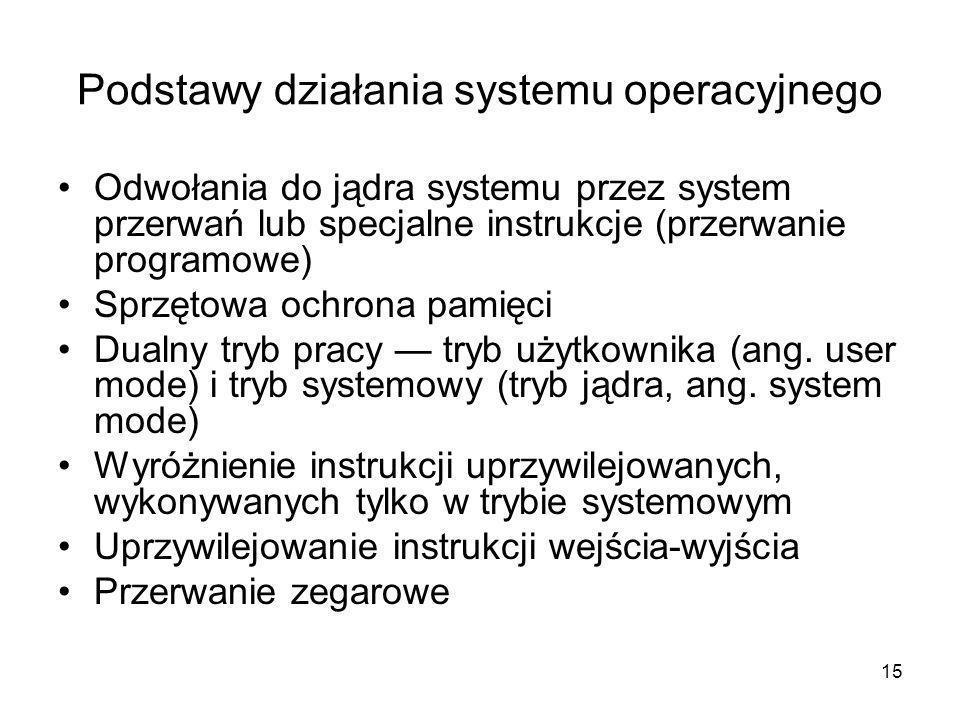 15 Podstawy działania systemu operacyjnego Odwołania do jądra systemu przez system przerwań lub specjalne instrukcje (przerwanie programowe) Sprzętowa