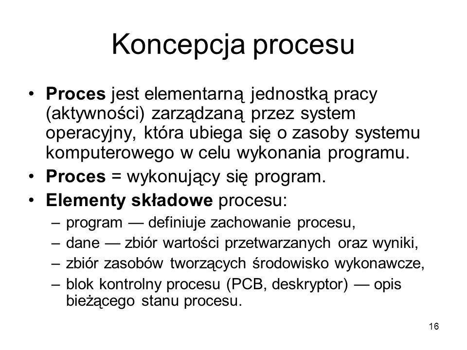 16 Koncepcja procesu Proces jest elementarną jednostką pracy (aktywności) zarządzaną przez system operacyjny, która ubiega się o zasoby systemu komput