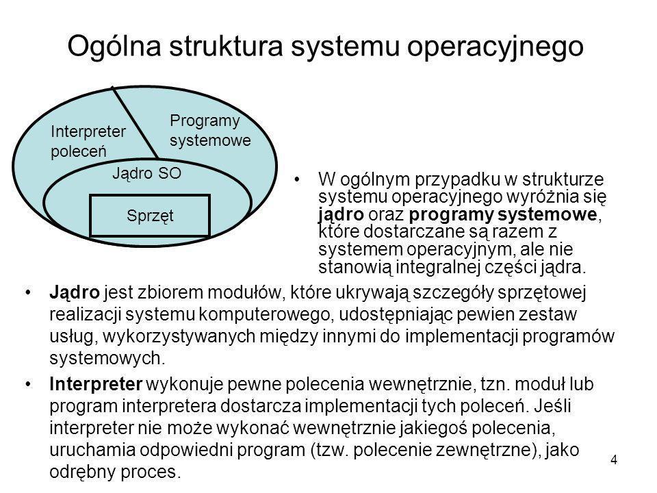 4 Ogólna struktura systemu operacyjnego W ogólnym przypadku w strukturze systemu operacyjnego wyróżnia się jądro oraz programy systemowe, które dostar