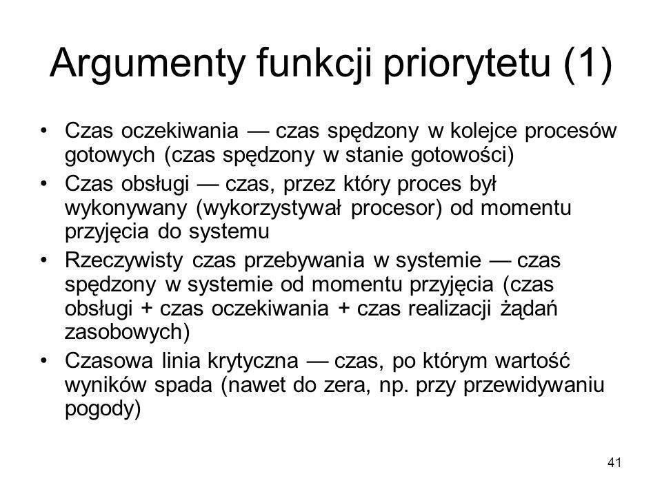 41 Argumenty funkcji priorytetu (1) Czas oczekiwania — czas spędzony w kolejce procesów gotowych (czas spędzony w stanie gotowości) Czas obsługi — cza