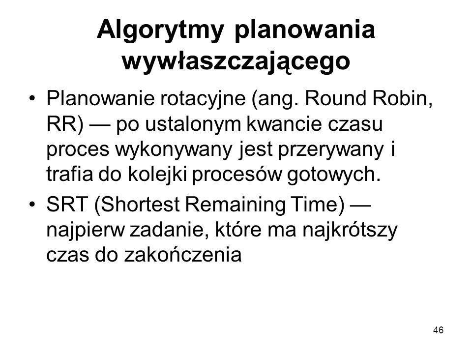 46 Algorytmy planowania wywłaszczającego Planowanie rotacyjne (ang. Round Robin, RR) — po ustalonym kwancie czasu proces wykonywany jest przerywany i