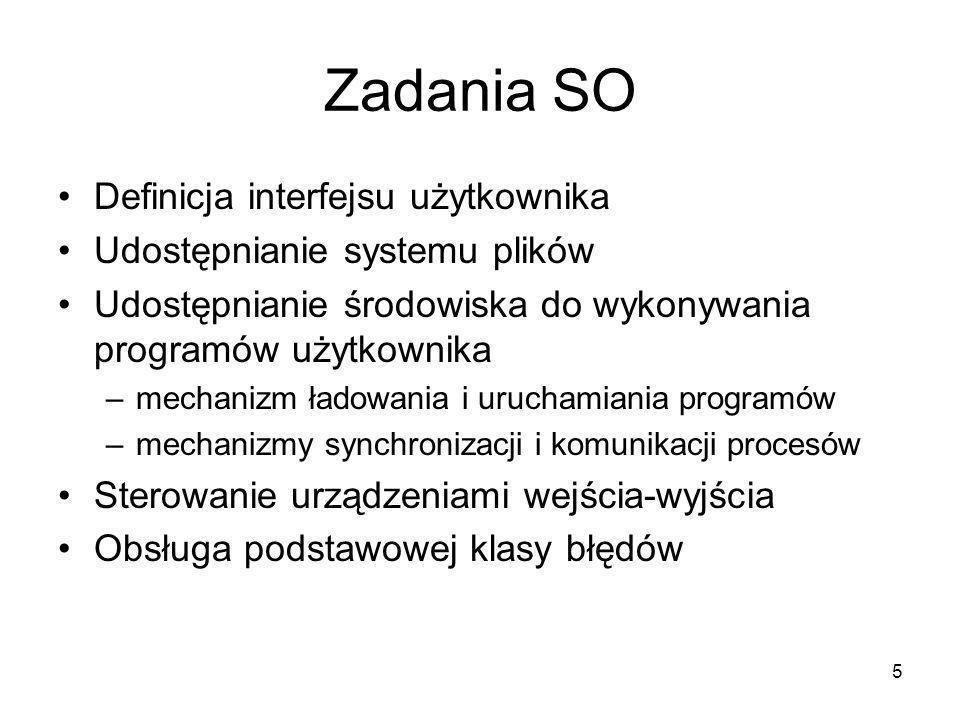 5 Zadania SO Definicja interfejsu użytkownika Udostępnianie systemu plików Udostępnianie środowiska do wykonywania programów użytkownika –mechanizm ła