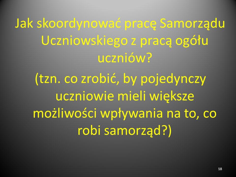 Jak skoordynować pracę Samorządu Uczniowskiego z pracą ogółu uczniów? (tzn. co zrobić, by pojedynczy uczniowie mieli większe możliwości wpływania na t