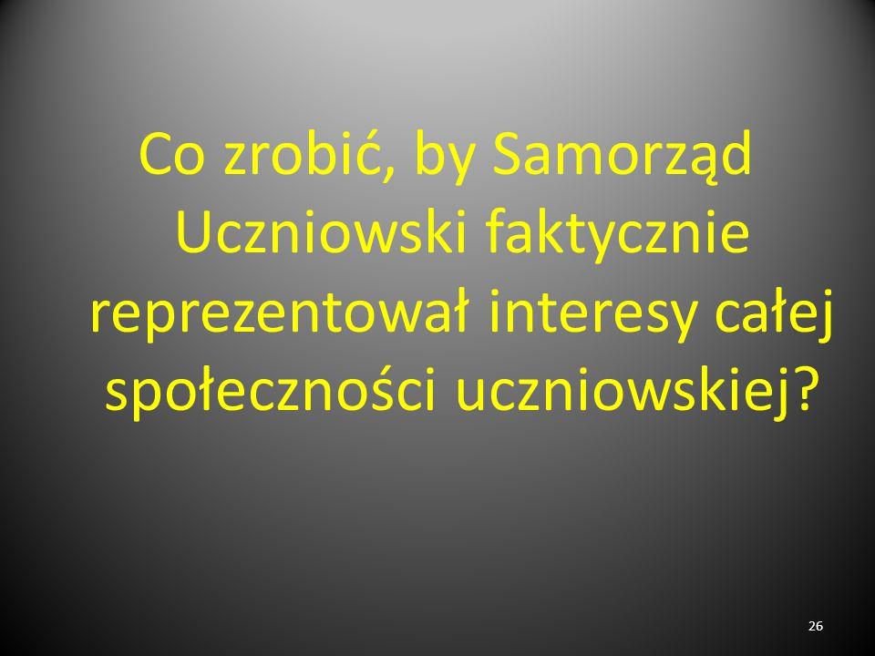 Co zrobić, by Samorząd Uczniowski faktycznie reprezentował interesy całej społeczności uczniowskiej? 26