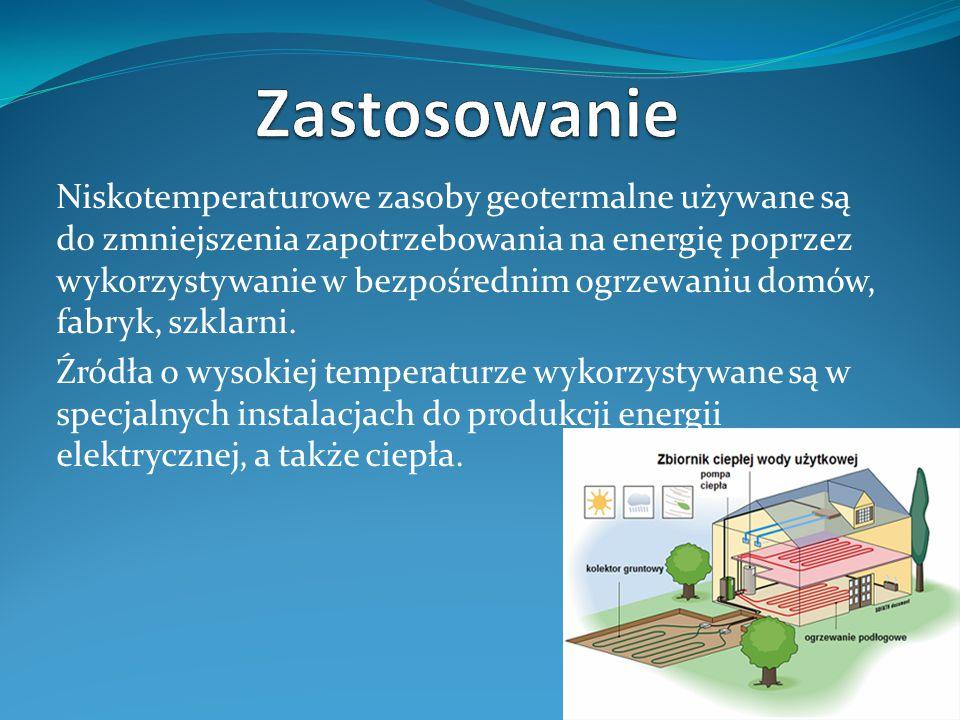 Zalety i wady ZALETY: nieszkodliwa dla środowiska, pokłady energii geotermalnej są zasobami lokalnymi, mogą być pozyskiwane w pobliżu miejsca użytkowania, elektrownie geotermalne nie wywierają niekorzystnego wpływu na krajobraz, zasoby energii geotermalnej są, dostępne zawsze, niezależnie od warunków pogodowych.