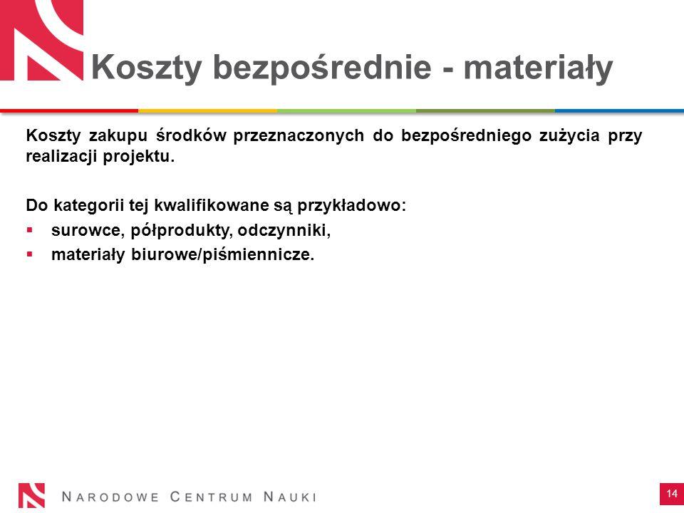 Koszty bezpośrednie - materiały Koszty zakupu środków przeznaczonych do bezpośredniego zużycia przy realizacji projektu. Do kategorii tej kwalifikowan
