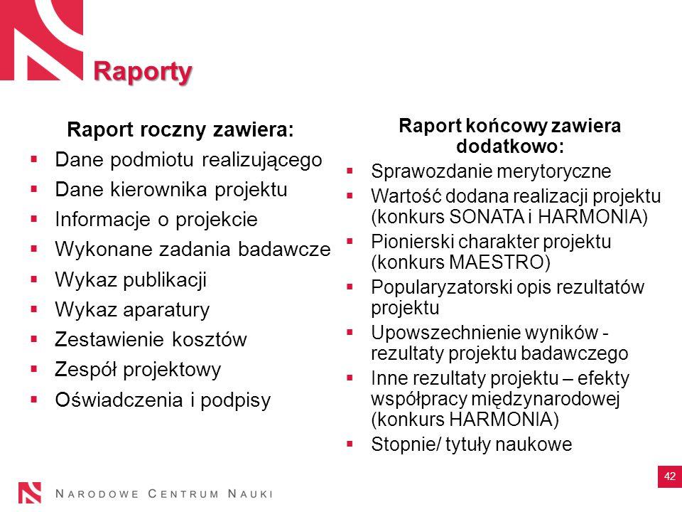 Raporty 42 Raport roczny zawiera:  Dane podmiotu realizującego  Dane kierownika projektu  Informacje o projekcie  Wykonane zadania badawcze  Wyka