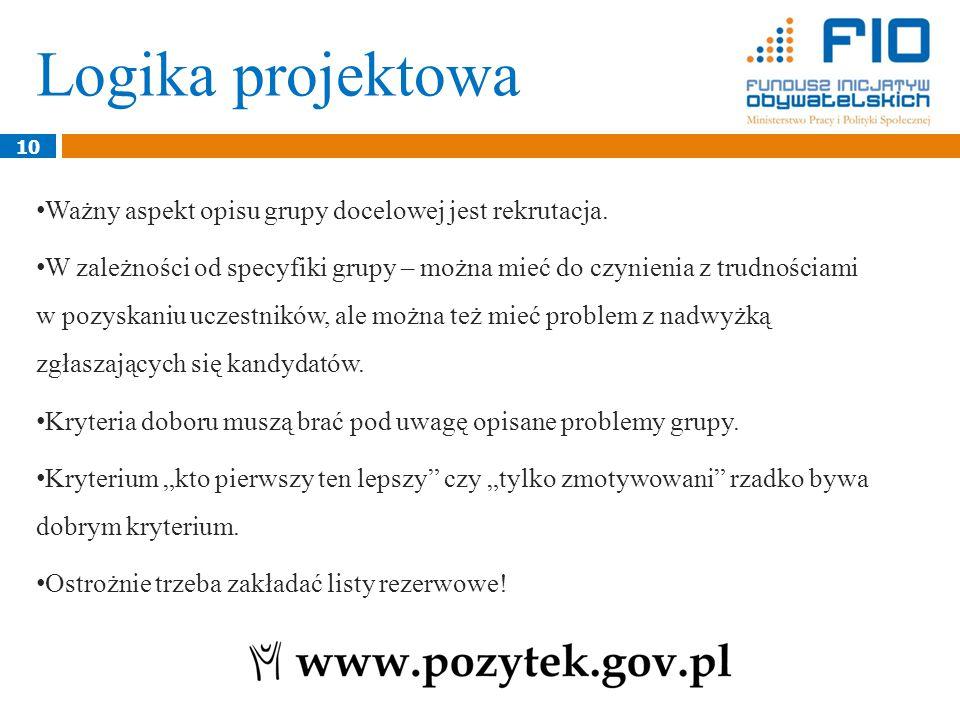 Logika projektowa 10 Ważny aspekt opisu grupy docelowej jest rekrutacja.