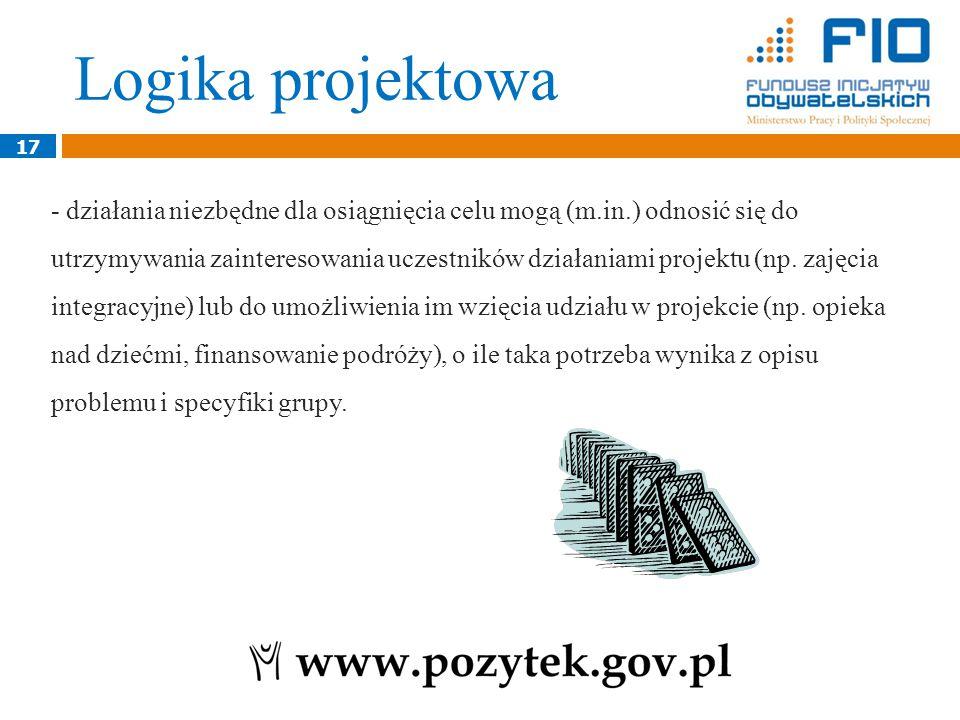 17 - działania niezbędne dla osiągnięcia celu mogą (m.in.) odnosić się do utrzymywania zainteresowania uczestników działaniami projektu (np.