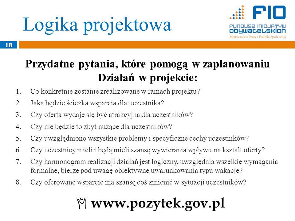 18 Przydatne pytania, które pomogą w zaplanowaniu Działań w projekcie: 1.Co konkretnie zostanie zrealizowane w ramach projektu.