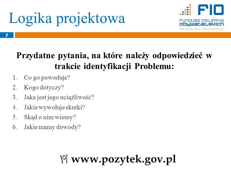 Logika projektowa 7 Przydatne pytania, na które należy odpowiedzieć w trakcie identyfikacji Problemu: 1.Co go powoduje.