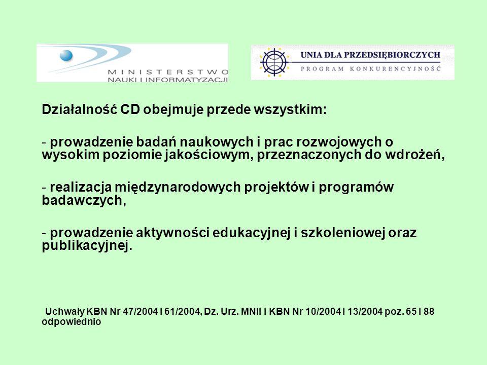 Działalność CD obejmuje przede wszystkim: - prowadzenie badań naukowych i prac rozwojowych o wysokim poziomie jakościowym, przeznaczonych do wdrożeń,