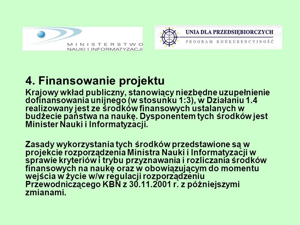 4. Finansowanie projektu Krajowy wkład publiczny, stanowiący niezbędne uzupełnienie dofinansowania unijnego (w stosunku 1:3), w Działaniu 1.4 realizow