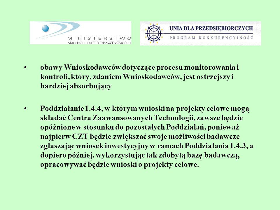 obawy Wnioskodawców dotyczące procesu monitorowania i kontroli, który, zdaniem Wnioskodawców, jest ostrzejszy i bardziej absorbujący Poddziałanie 1.4.