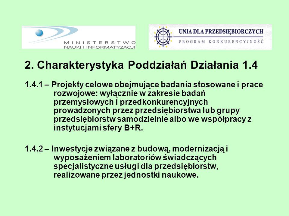 2. Charakterystyka Poddziałań Działania 1.4 1.4.1 – Projekty celowe obejmujące badania stosowane i prace rozwojowe: wyłącznie w zakresie badań przemys