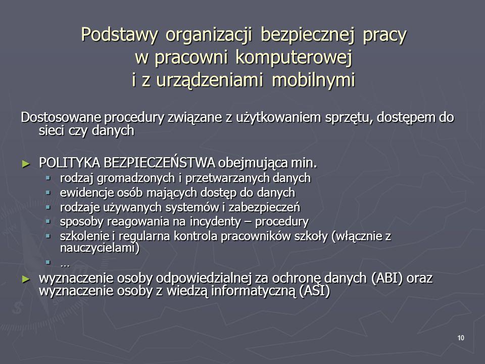 10 Podstawy organizacji bezpiecznej pracy w pracowni komputerowej i z urządzeniami mobilnymi Dostosowane procedury związane z użytkowaniem sprzętu, do