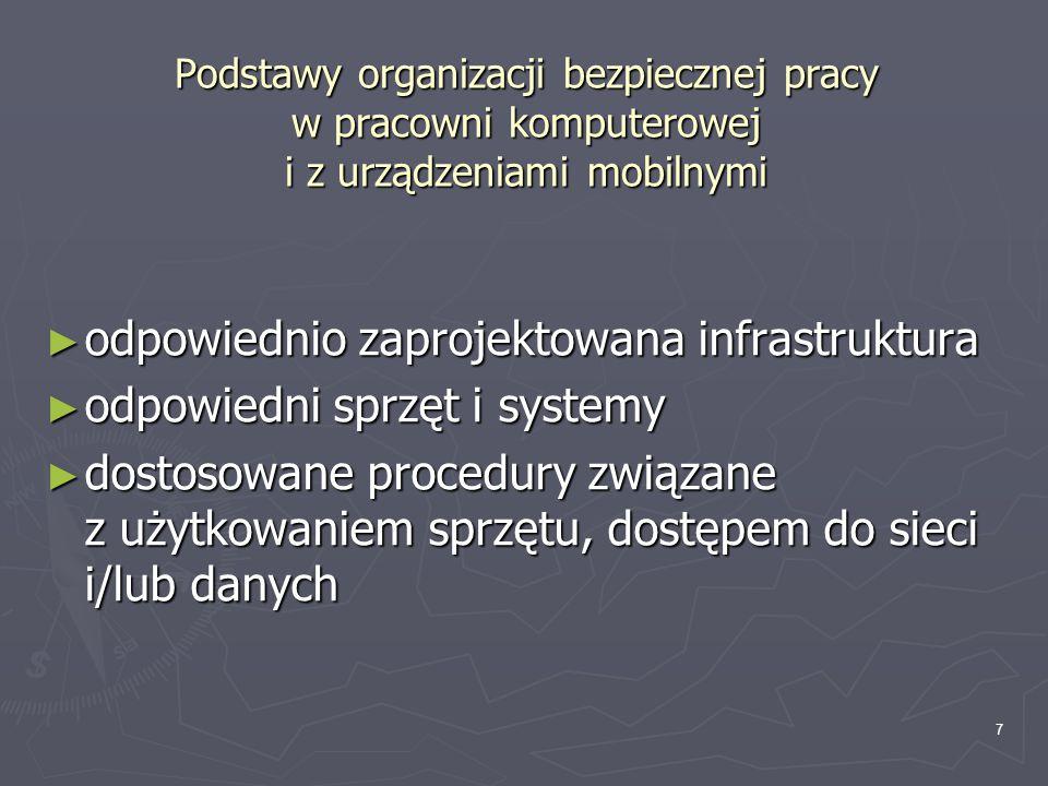7 Podstawy organizacji bezpiecznej pracy w pracowni komputerowej i z urządzeniami mobilnymi ► odpowiednio zaprojektowana infrastruktura ► odpowiedni s