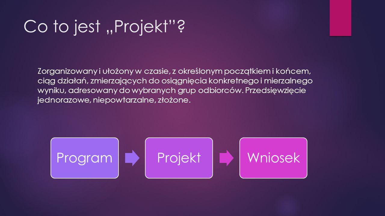 """Co to jest """"Projekt""""? Zorganizowany i ułożony w czasie, z określonym początkiem i końcem, ciąg działań, zmierzających do osiągnięcia konkretnego i mie"""