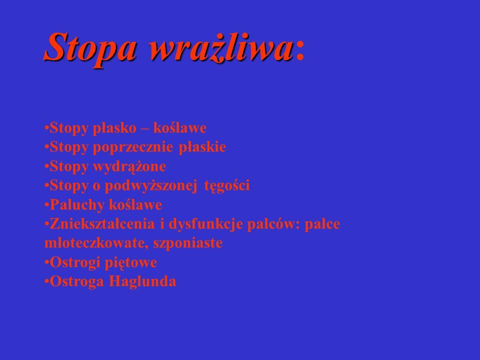 Stopa wrażliwa Stopa wrażliwa: Stopy płasko – koślawe Stopy poprzecznie płaskie Stopy wydrążone Stopy o podwyższonej tęgości Paluchy koślawe Zniekszta
