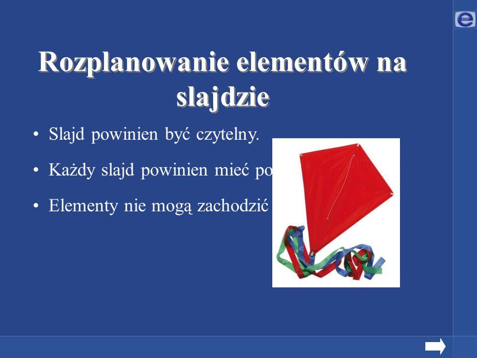 Slajd powinien być czytelny. Każdy slajd powinien mieć podobny schemat. Elementy nie mogą zachodzić na siebie. Rozplanowanie elementów na slajdzie