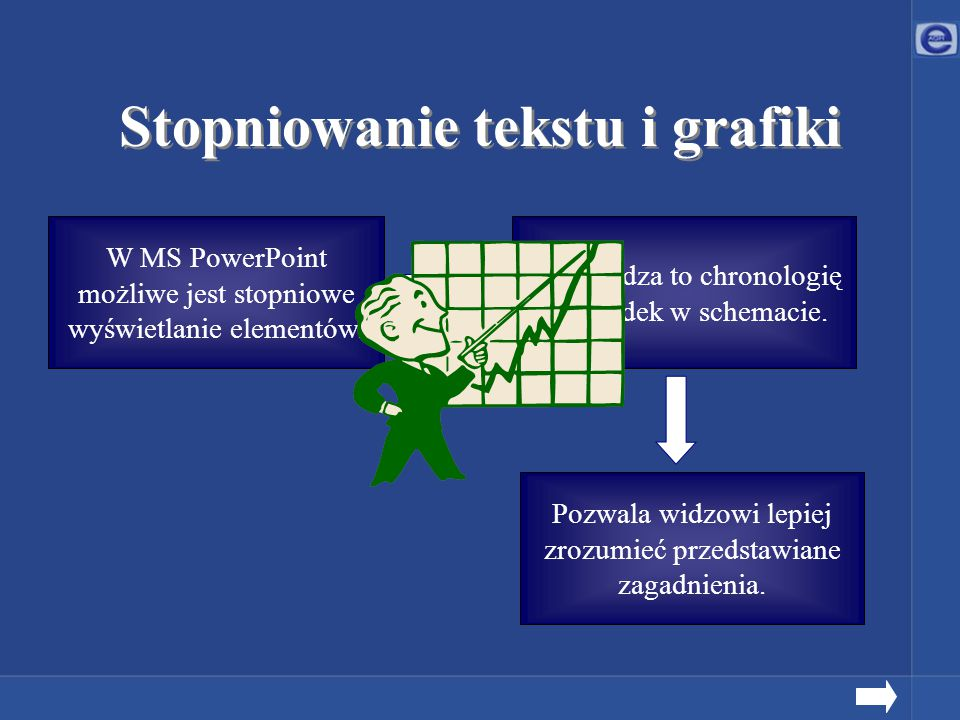 Stopniowanie tekstu i grafiki W MS PowerPoint możliwe jest stopniowe wyświetlanie elementów. Pozwala widzowi lepiej zrozumieć przedstawiane zagadnieni