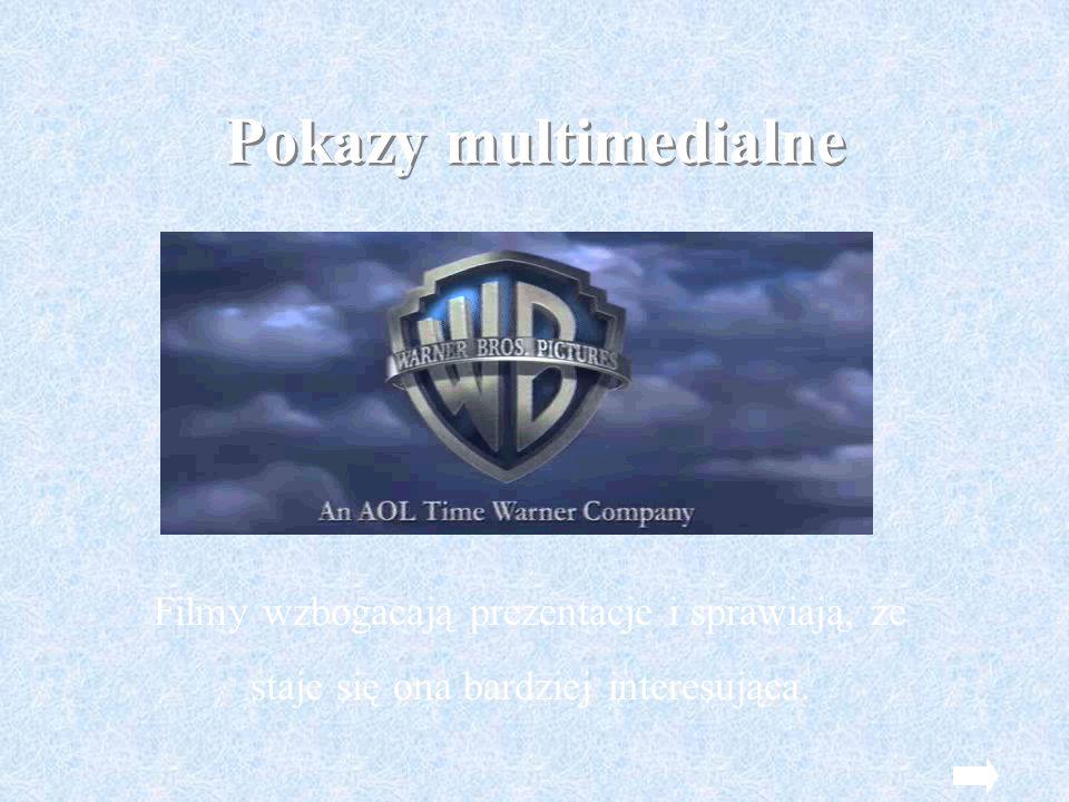 Pokazy multimedialne Filmy wzbogacają prezentacje i sprawiają, że staje się ona bardziej interesująca.