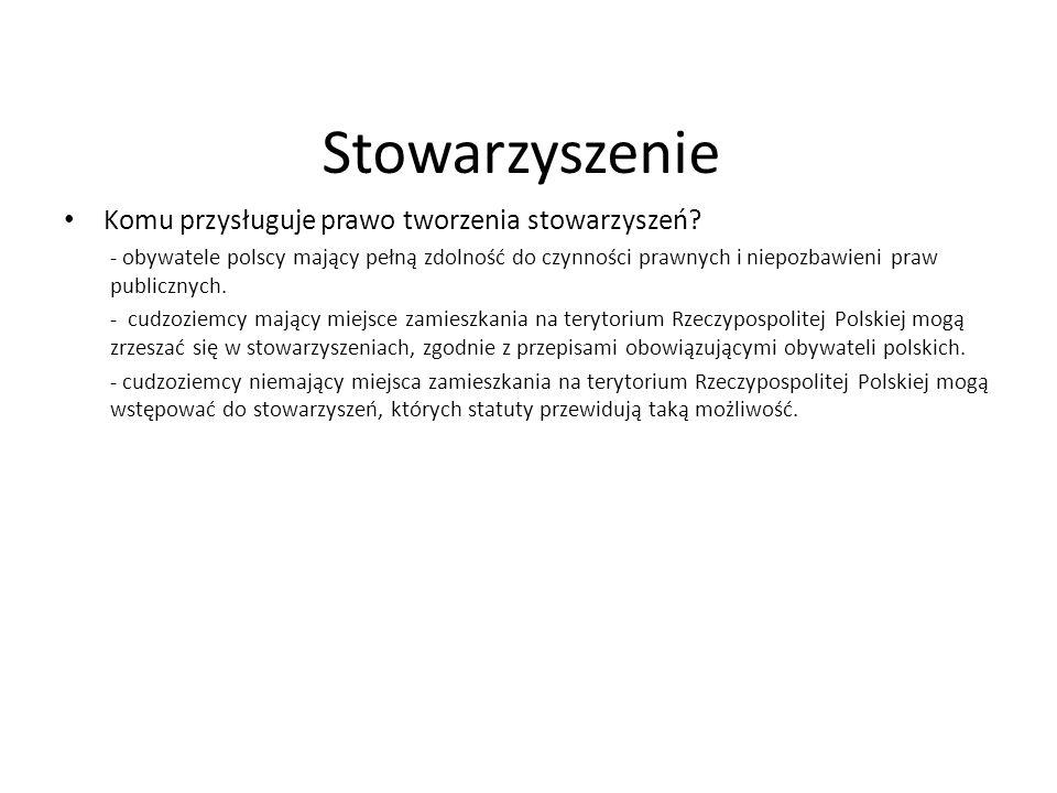 Stowarzyszenie Komu przysługuje prawo tworzenia stowarzyszeń? - obywatele polscy mający pełną zdolność do czynności prawnych i niepozbawieni praw publ