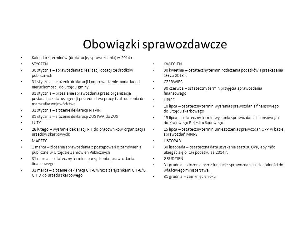 Obowiązki sprawozdawcze Kalendarz terminów (deklaracje, sprawozdania) w 2014 r. STYCZEŃ 30 stycznia – sprawozdania z realizacji dotacji ze środków pub