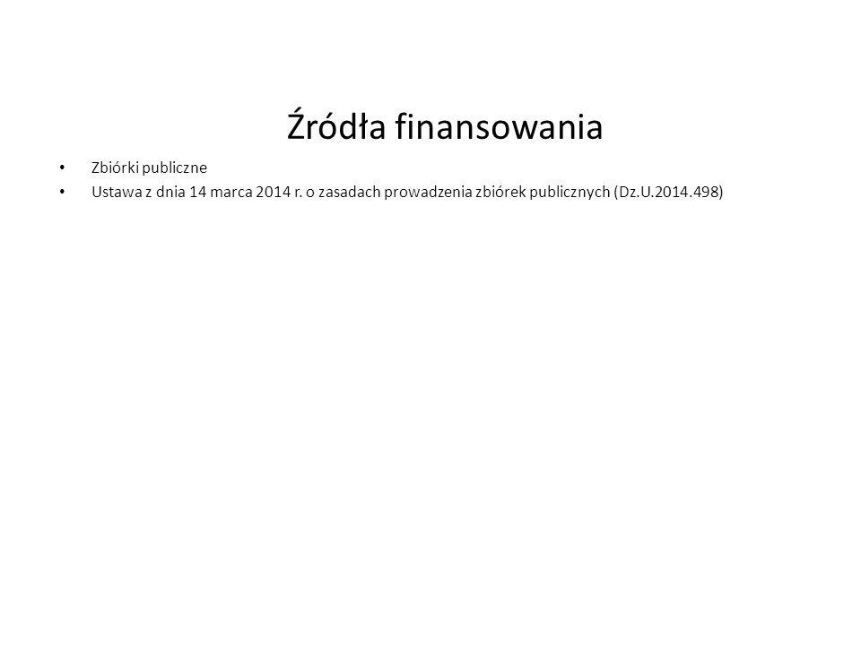 Źródła finansowania Zbiórki publiczne Ustawa z dnia 14 marca 2014 r. o zasadach prowadzenia zbiórek publicznych (Dz.U.2014.498)