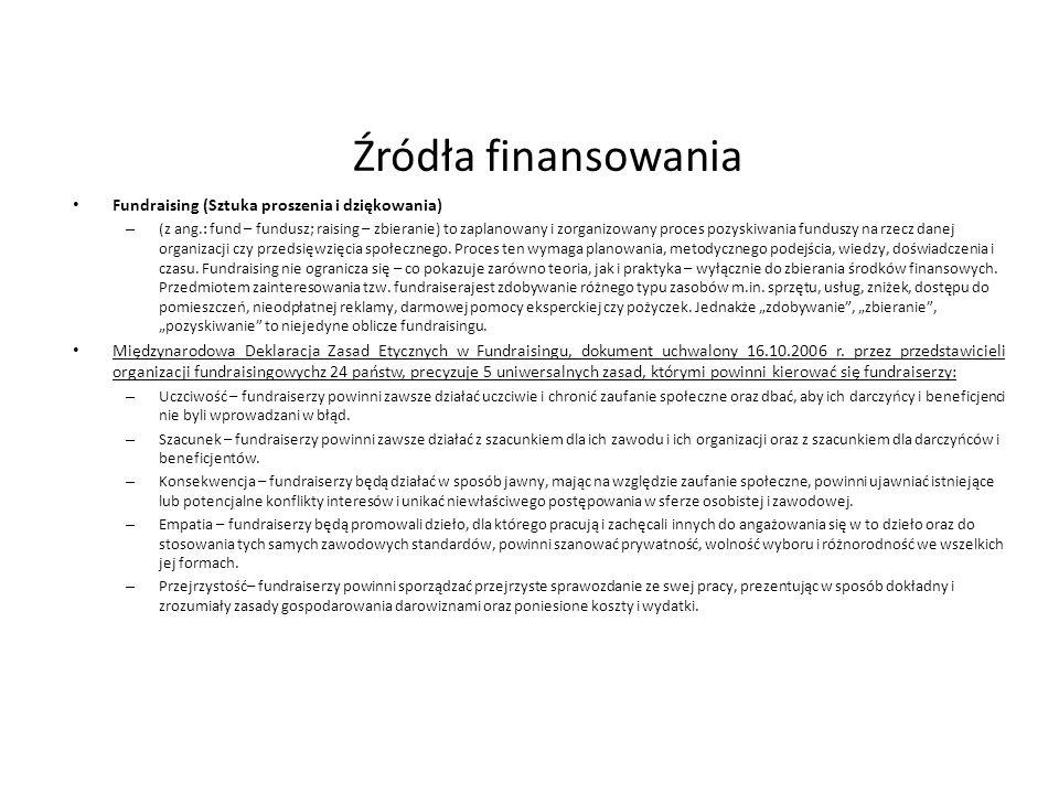 Źródła finansowania Fundraising (Sztuka proszenia i dziękowania) – (z ang.: fund – fundusz; raising – zbieranie) to zaplanowany i zorganizowany proces